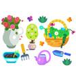 garden equipment icon set vector image
