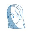 girl student face cartoon people head vector image