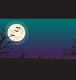 halloween background with bats zombies and full vector image vector image