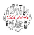 hand drawn set cold drinks summer vector image vector image