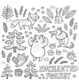 Hand drawn set with animals in outline vector image vector image