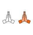 hand with pray icon namaste emoji for thank vector image vector image