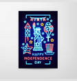 happy independence day neon flyer vector image vector image
