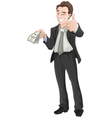 Happy man holding money and showing ok vector image vector image