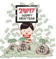 Happy new year 2017 Successful Business Man under vector image vector image