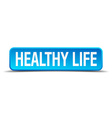 healthy life blue 3d realistic square isolated vector image vector image