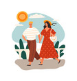 hot sunny summer weather with people outdoors vector image