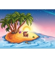 island with palm trees and a treasure vector image vector image