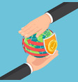 isometric businessman hands protecting world vector image vector image