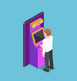 isometric businessman using an atm machine on vector image