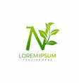 letter n green plant leaf logo vector image