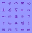 Map place purple line icons vector image