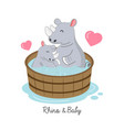 mothers day card happy rhino and bacartoon vector image vector image