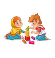 muslim girl and boy playing with building blocks vector image