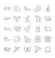 origami signs black thin line icon set vector image vector image