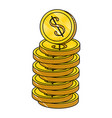 purse with coins vector image vector image
