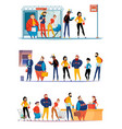 queue people horizontale sets vector image