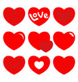red heart icon set happy valentines day shining vector image vector image