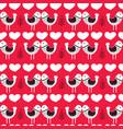 red scandinavian love birds pattern design vector image