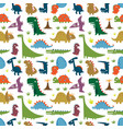 seamless pattern with cartoon funny dinosaurs vector image vector image
