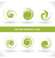 set green grunge curl logo on white background vector image