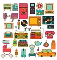 set of color vintage flat electronic icons 80-90s vector image vector image