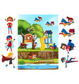 set of girl superhero and playgrounf background vector image