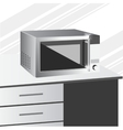 side view of microwave in a kitchen vector image