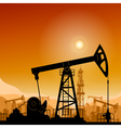 Silhouette Pump Jack at Sunset vector image