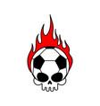 skull soccer ball and fire football skeleton head vector image vector image