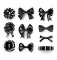 stylish black bows with ribbons vector image vector image
