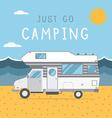 Summer Beach Caravan Trailer Camping Landscape vector image vector image