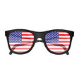 sunglasses with american flag reflection vector image vector image