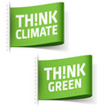 Think Climate and Think Green labels vector image