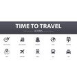 time to travel simple concept icons set contains vector image