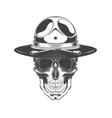 vintage monochrome skull vector image vector image