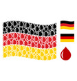 waving germany flag pattern of drop icons vector image vector image