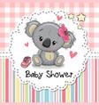 baby shower greeting card with cartoon koala girl vector image