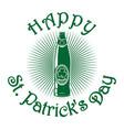 beer bottle with clover leaf st patricks day vector image