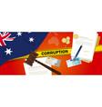 australia corruption money bribery financial law vector image vector image
