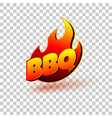 bbq grill text with fire flames label logo vector image vector image