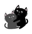 black gray cat hugging family couple hug embrace vector image vector image