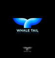 blue whale tail sea travel club vector image