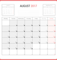 Calendar Planner for August 2017 vector image vector image