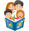 cartoon family read a bedtime story vector image vector image