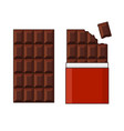 chocolate bar set on white background vector image vector image