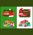 christmas sale poster wrapped present promo label vector image vector image