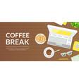 coffee break banner template top view laptop vector image