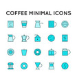 colorful linear flat coffee icons set vector image