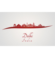 Delhi skyline in red vector image